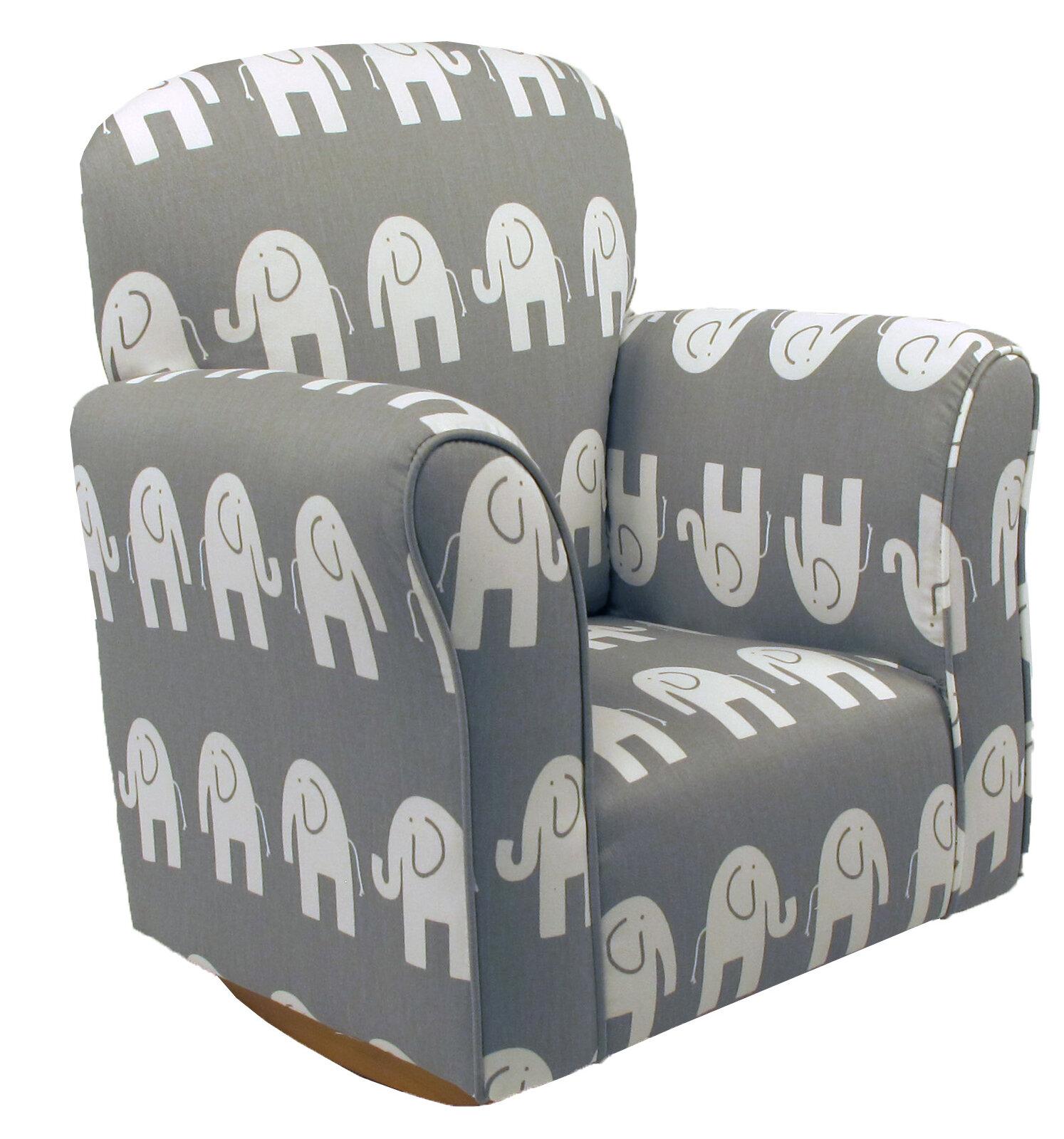 Harriet Bee Starla Child Elephant Cotton Rocking Kids Chair