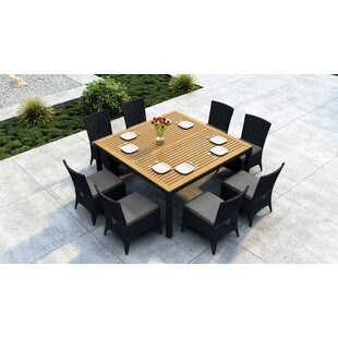 Aisha 9 Piece Dining Set with Sunbrella Cushion