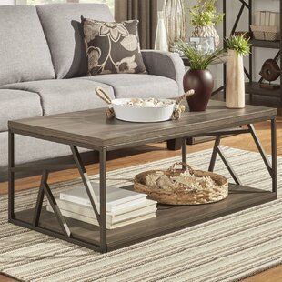 Derwood Metal Distressed Wood Coffee Table Mercury Row