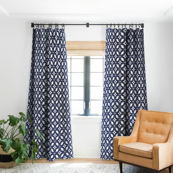 Navy Patterned Curtains | Wayfair