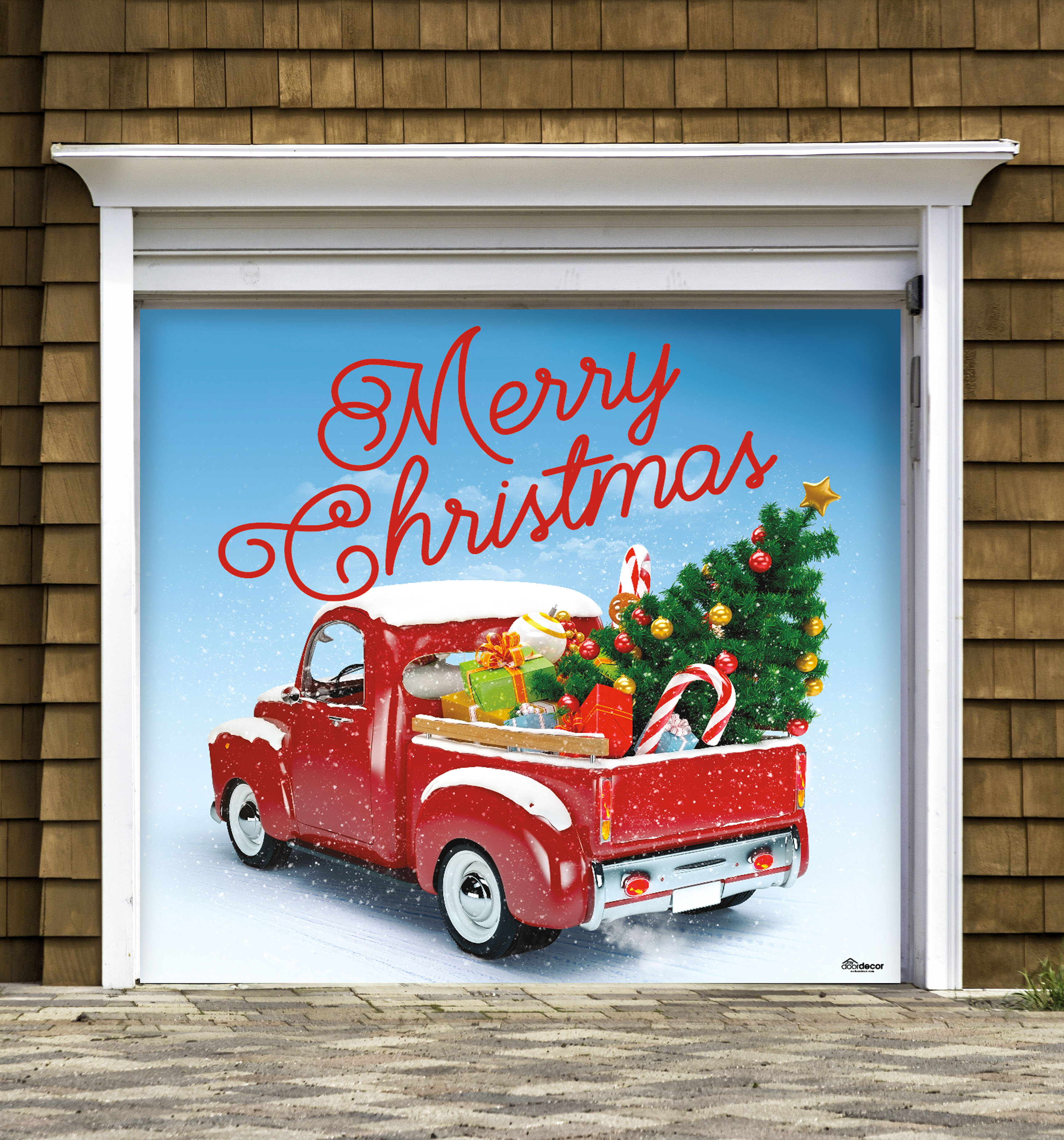 The Holiday Aisle Red Truck Christmas Garage Banner Door Mural Reviews Wayfair