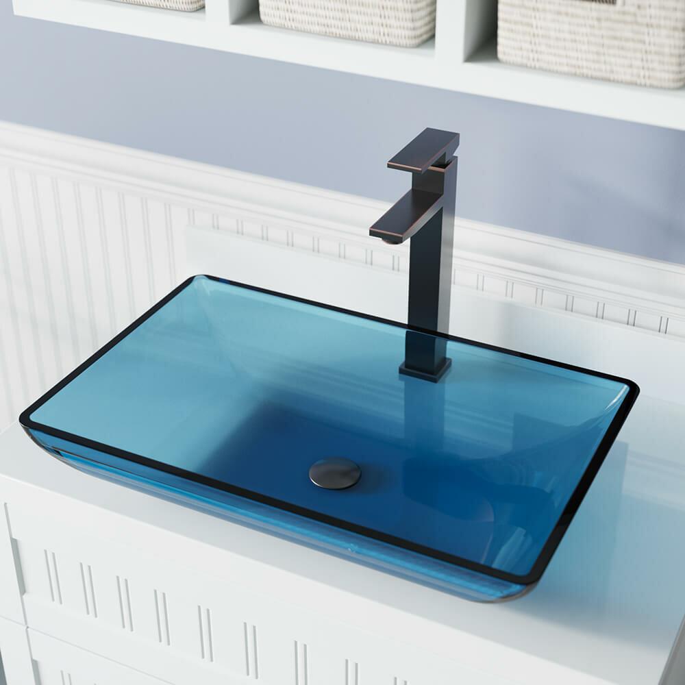 Mrdirect Glass Rectangular Vessel Bathroom Sink With Faucet Reviews Wayfair