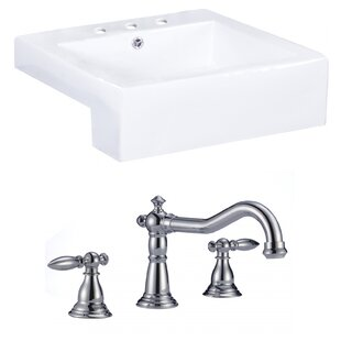 Searching for Xena Farmhouse Semi-Recessed Ceramic Rectangular Vessel Bathroom Sink with Faucet and Overflow By Royal Purple Bath Kitchen