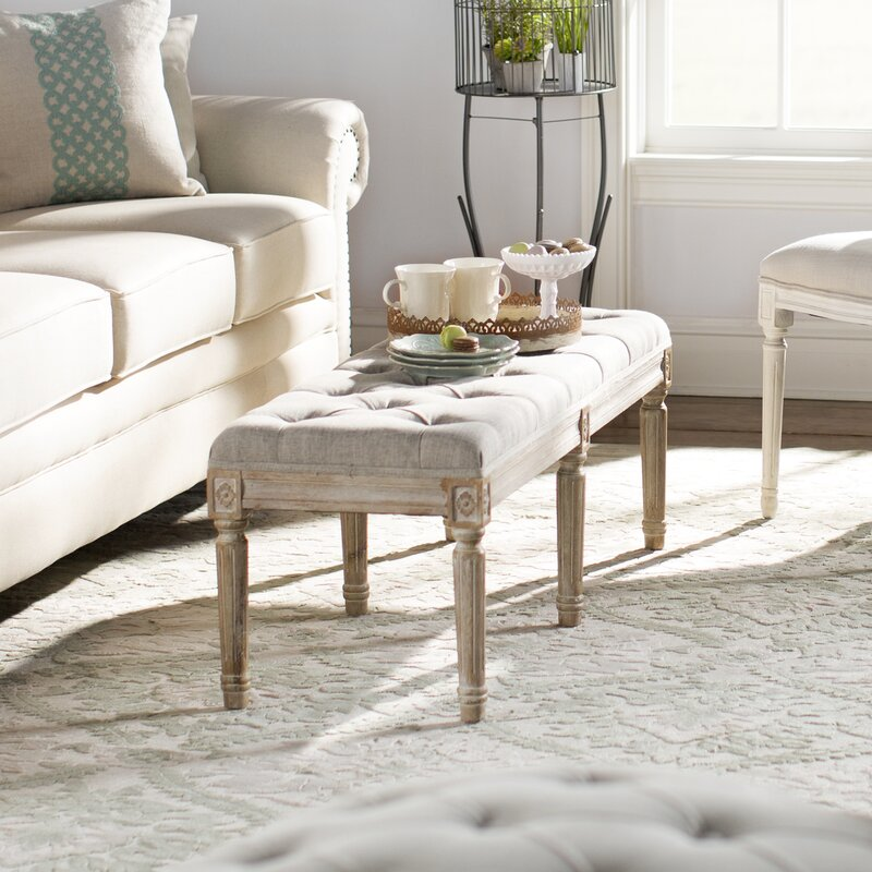Letellier Upholstered Bench. French Country Furniture Finds. Because European country and French farmhouse style is easy to love. Rustic elegant charm is lovely indeed.