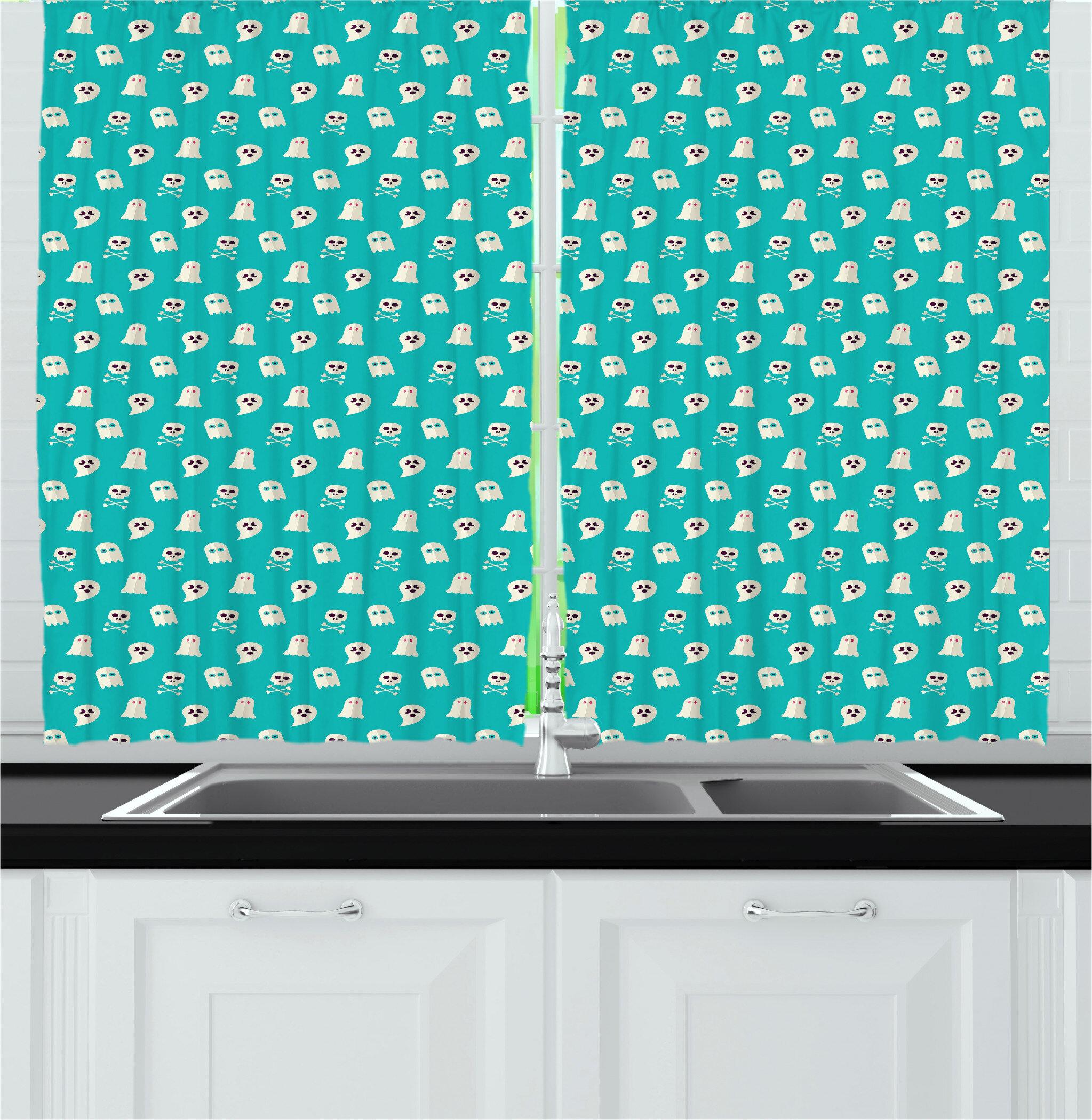 East Urban Home Ghost Kitchen Curtain Wayfair