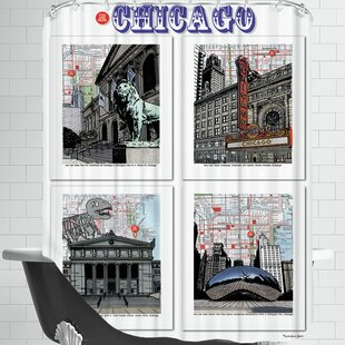 Chicago Poster Single Shower Curtain by East Urban Home Cool