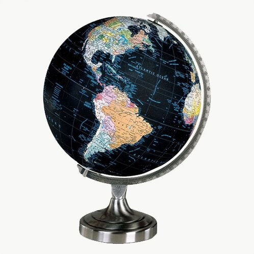 "Home /& Office Decor 12/"" Big Black Globe Map Atlas with Adjustable Tripod Stand"