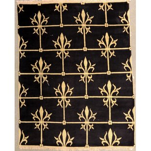 Best Bucklin One-of-a-Kind Indian Transitional Hand-Knotted Wool Black Area Rug ByFleur De Lis Living