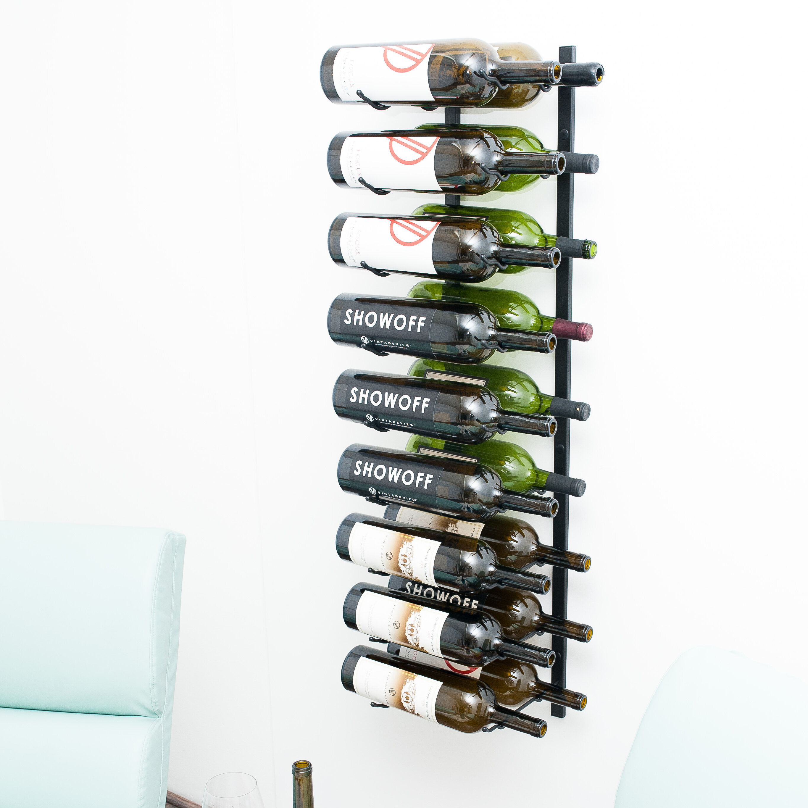 18 Bottle Wall Mounted Wine Rack VintageView Wall Series Stylish Modern Wine Storage with Label Forward Design Satin Black