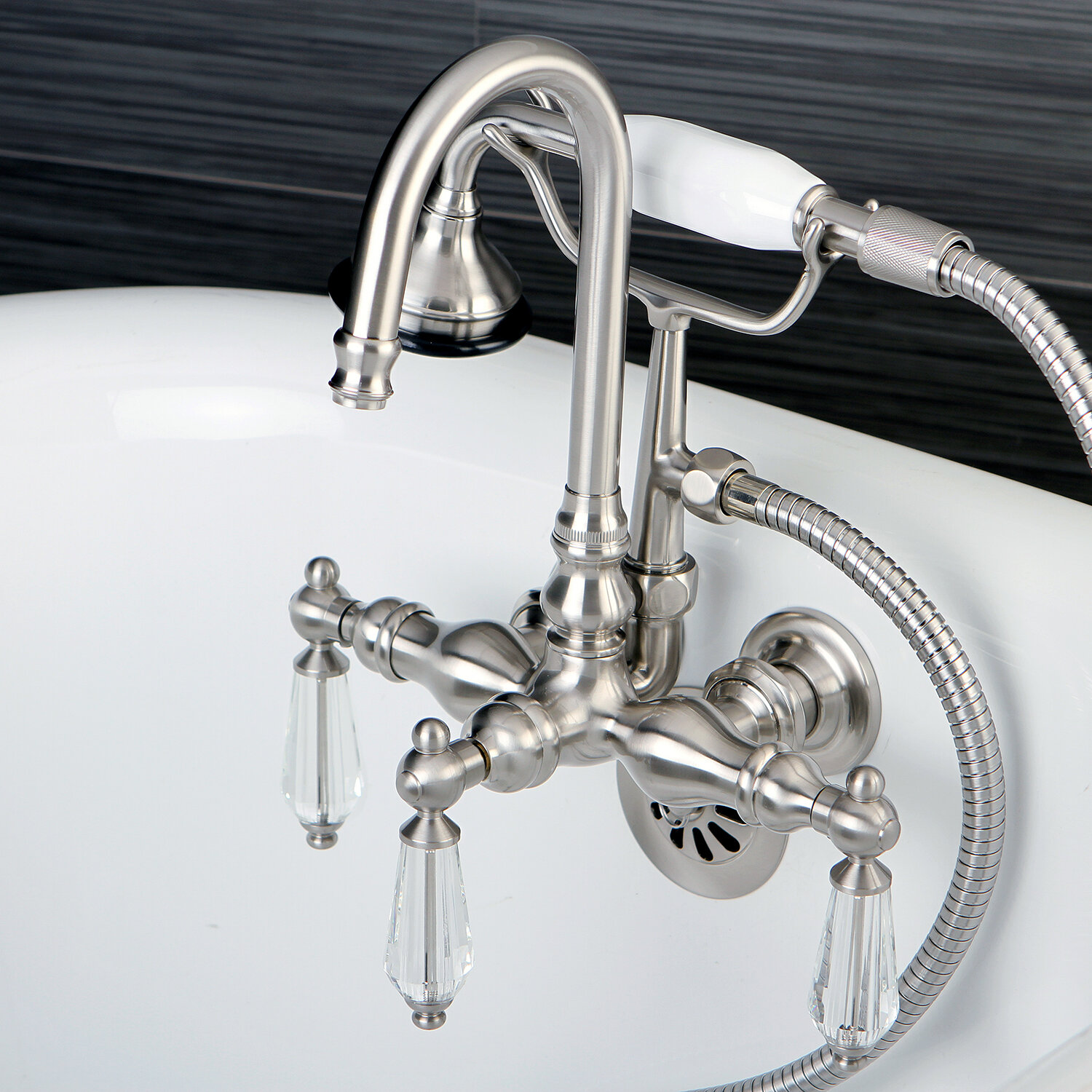 Kingston Brass Wilshire Triple Handle Wall Mounted Clawfoot Tub Faucet Trim With Diverter And Handshower Reviews Wayfair