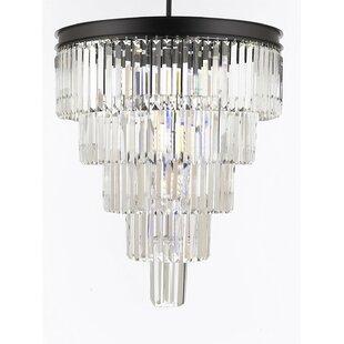 House of Hampton Aurelio Palladium Glass Fringe 5 Tier 12-Light LED Crystal Chandelier