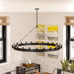Checotah 24-Light Wagon Wheel Chandelier by Trent Austin Design
