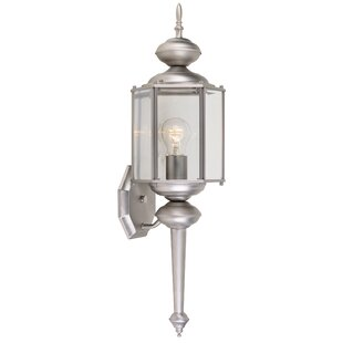 Coupon Mahalia 1-Light Glass Shaded Outdoor Wall lantern By Red Barrel Studio