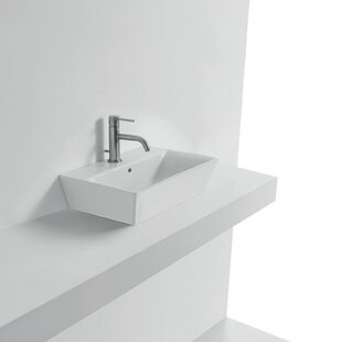 WS Bath Collections Jas Ceramic Rectangular Vessel Bathroom Sink with Overflow