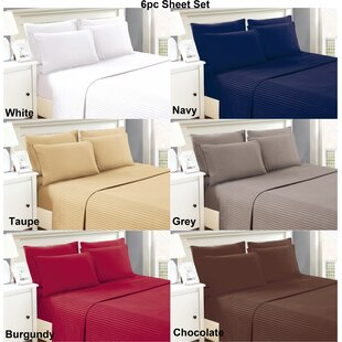 Perth 6 Piece Ultra Luxe Wrinkle Free Embossed Dobby Stripe Sheet Set