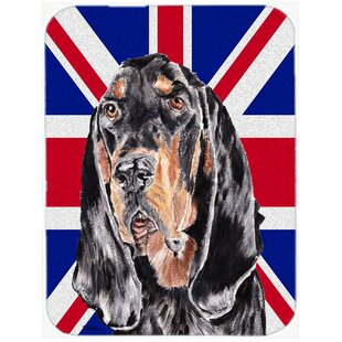 Union Jack Coonhound with English British Flag Glass Cutting Board By Caroline's Treasures