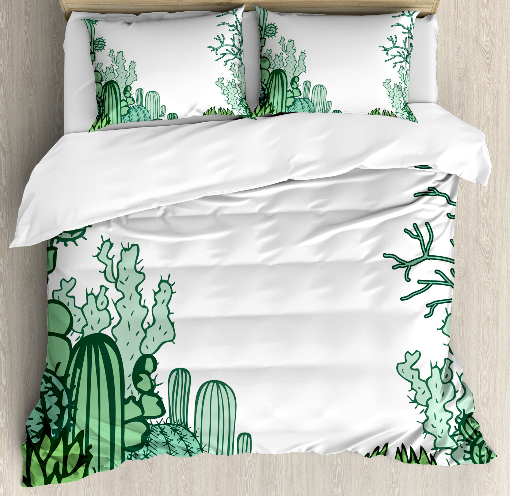 Ambesonne Arizona Desert Themed Doodle Cactus Staghorn Buckhorn Ocotillo Duvet Cover Set Wayfair