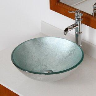 Elite Hand Painted Glass Circular Vessel Bathroom Sink