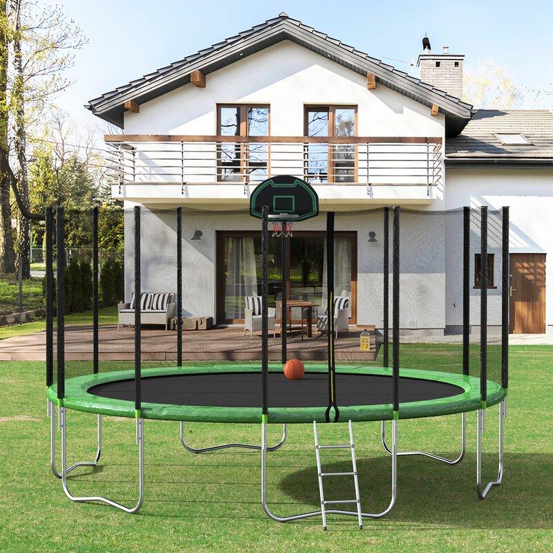 Lintoson 16' Round Backyard Trampoline with Safety ...