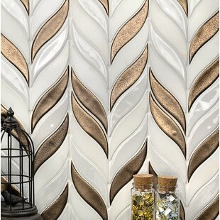 Oracle Sprig Mixed Material Mosaic Tile in White/Metallic Copper