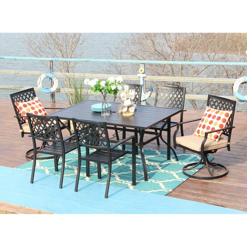 Fleur De Lis Living Thibeault 7 Piece Dining Set With Cushions Reviews Wayfair