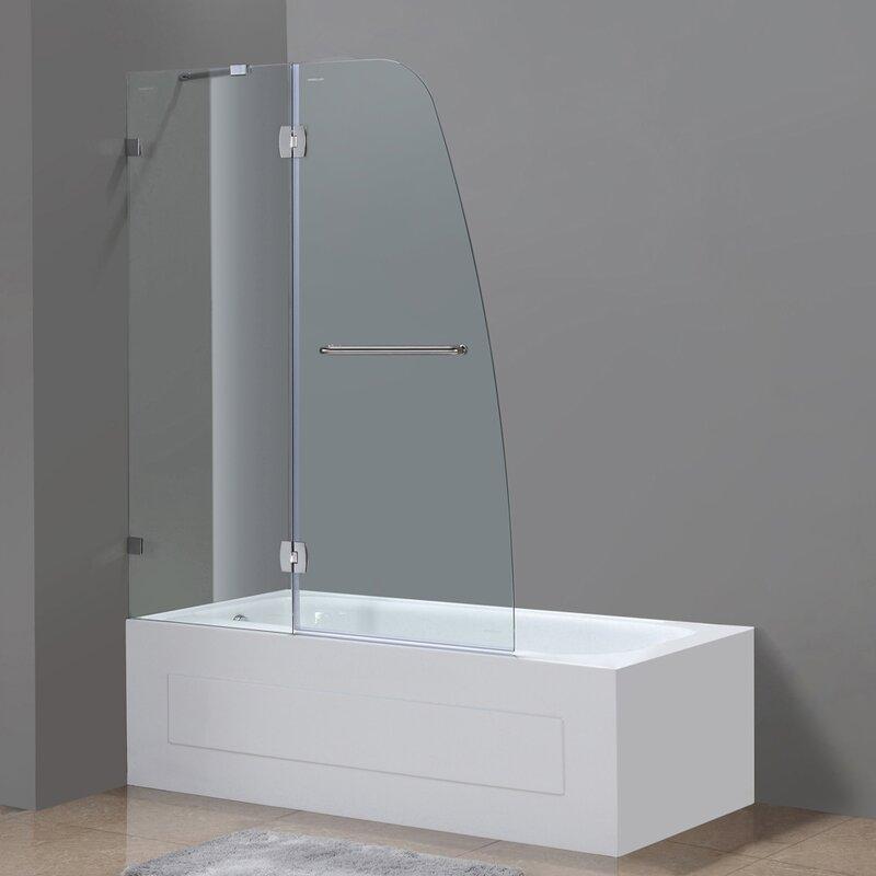 "aston soleil 48"" x 58"" hinged completely frameless tub-height shower"