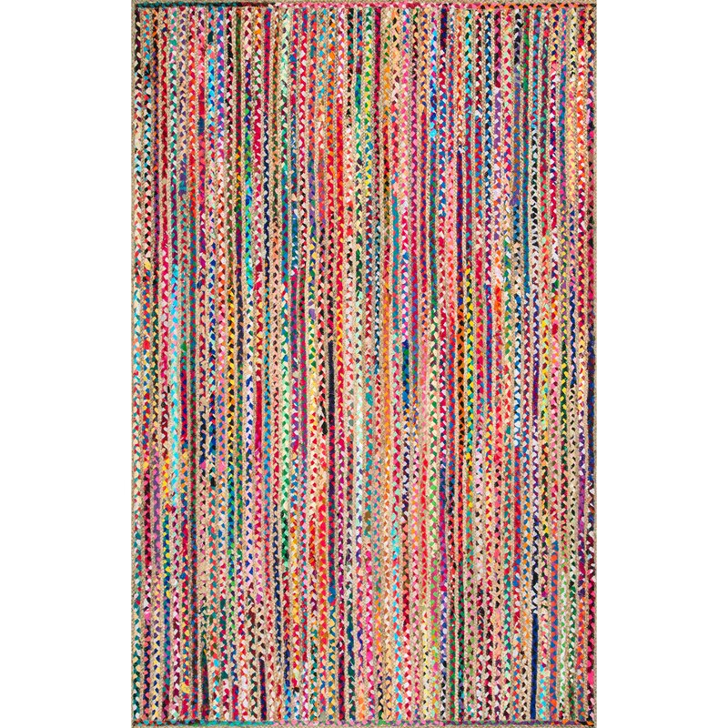 Sumitra Striped Handmade Braided Multicolor Area Rug