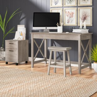 Beachcrest Home Oridatown Writing Desk with 2 Drawer Mobile Pedestal
