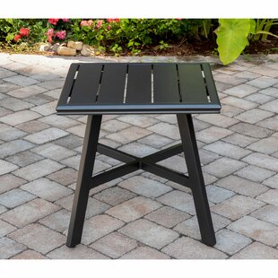 Gebhard All-Weather Square Slat-Top Aluminum Side Table