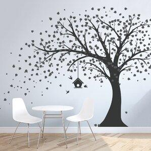 Nice Large Windy Tree With Birdhouse Wall Decal Nice Design