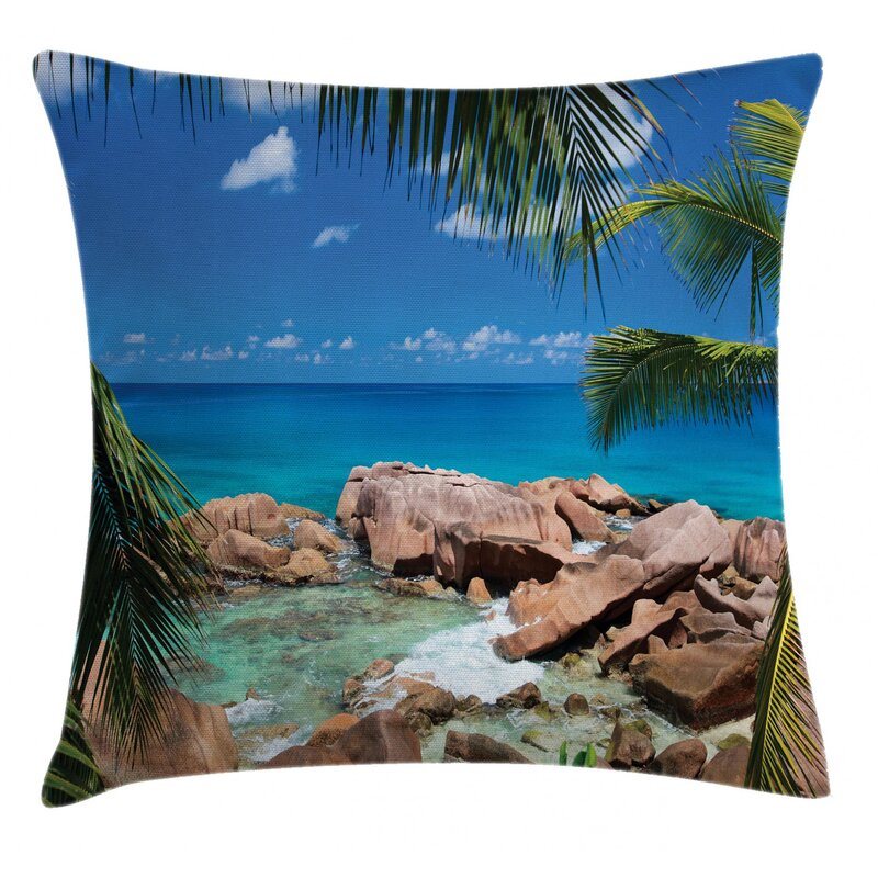 East Urban Home Rocky Coast Island With Palm Leaves In Paradise Clouds Indoor Outdoor 36 Throw Pillow Cover Wayfair