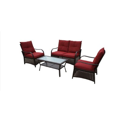 Bay Isle Home Ellenberger 4 Piece Sofa Set with Cushions Fabric: Red