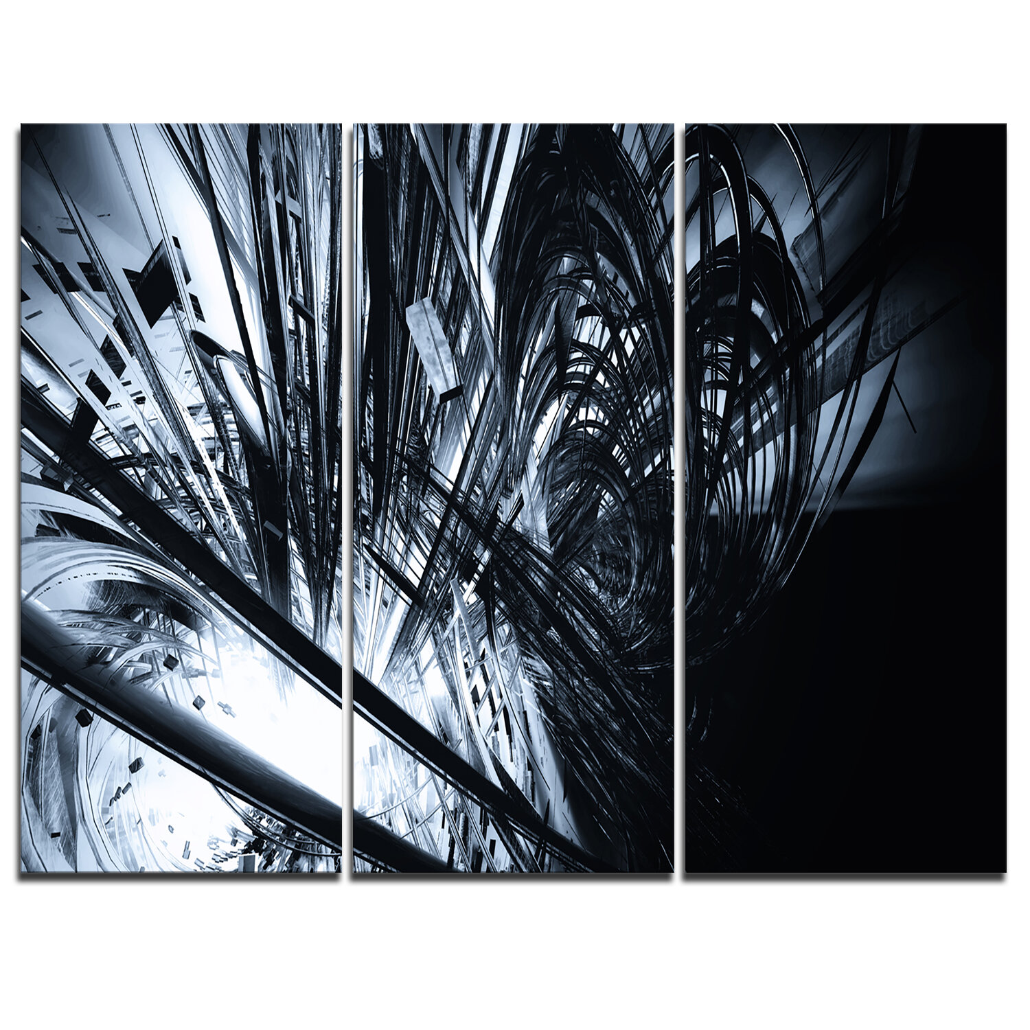 3d Abstract Art Black White 3 Piece Graphic Art On Wrapped Canvas Set