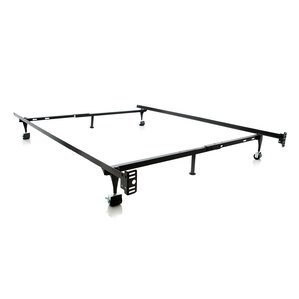 heavy duty 6leg adjustable metal bed frame with rug roller