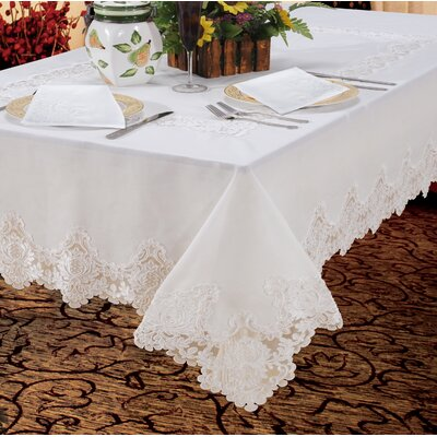 "Lark Manor Gabin Vintage Lace Tablecloth Size: 180"" L x 70"" W, Colour: White"
