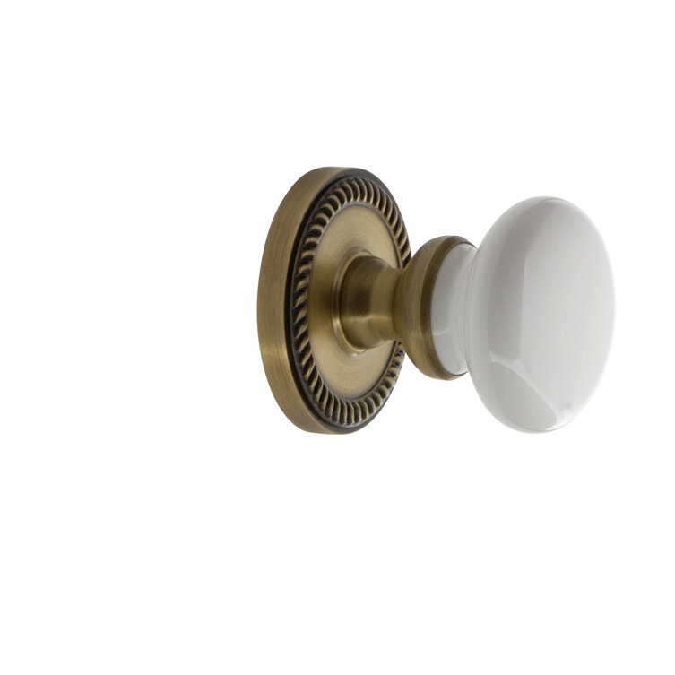 Polished Brass Double Dummy Grandeur Newport Rosette with Hyde Park Knob
