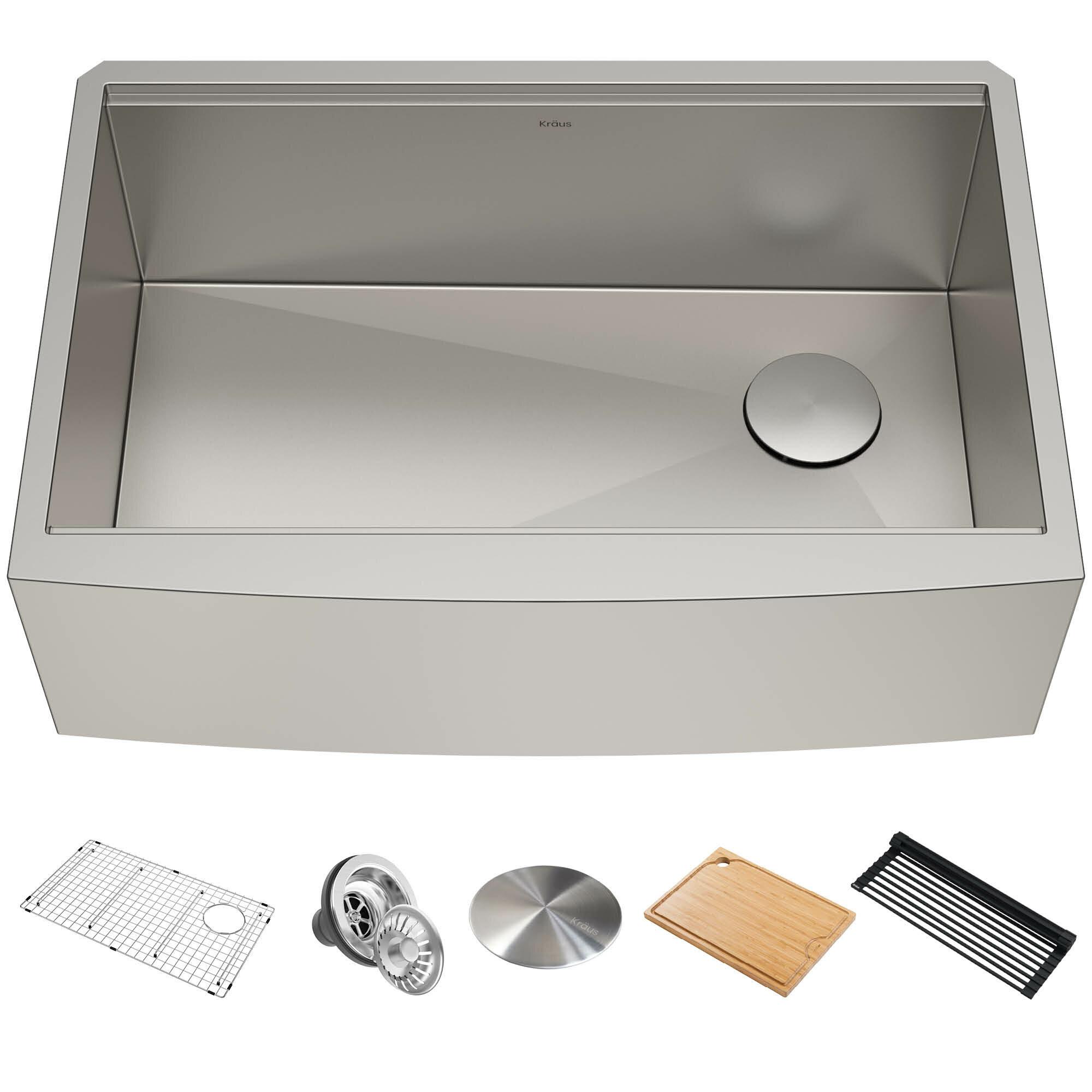 Kraus Kore Workstation 30 L X 21 W Farmhouse Kitchen Sink With Basket Strainer Reviews Wayfair