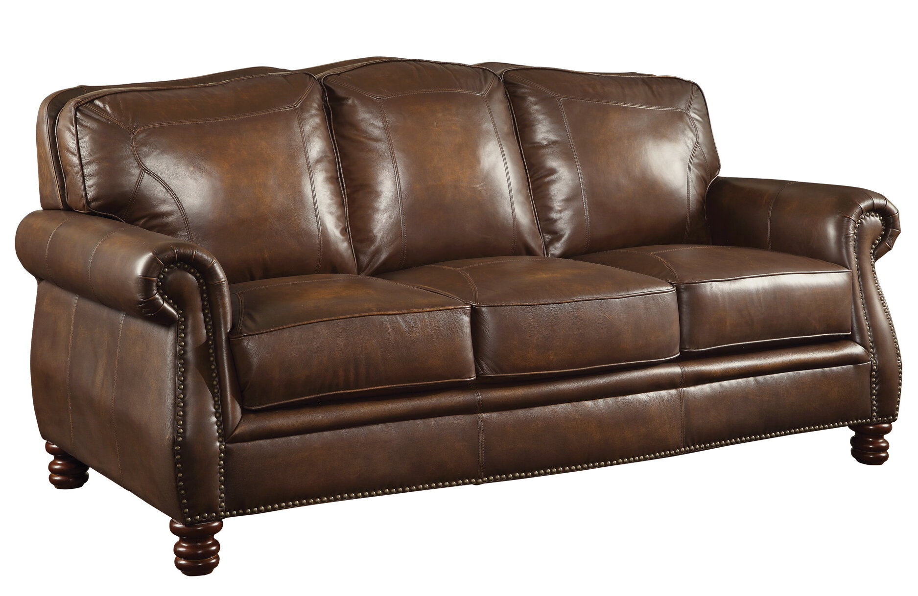 Darby Home Co Linglestown Leather Sofa & Reviews | Wayfair