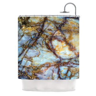 East Urban Home 'Opalized Marble' Shower Curtain