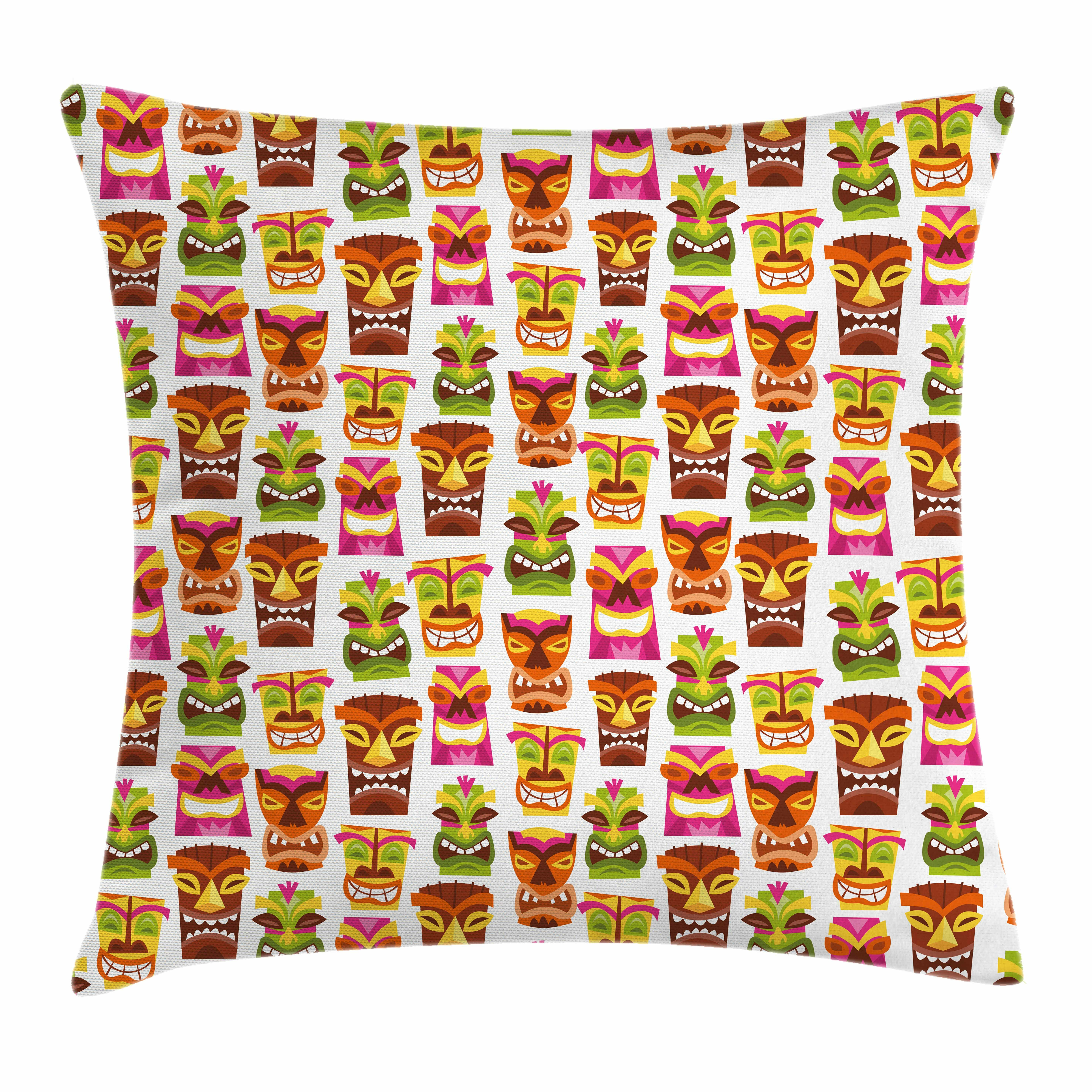 Hawaiian Tiki Tapa Vintage Mid Throw Pillow Cover w Optional Insert by Roostery