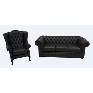 Amorita Chesterfield 2 Piece Leather Sofa Set By Marlow Home Co.