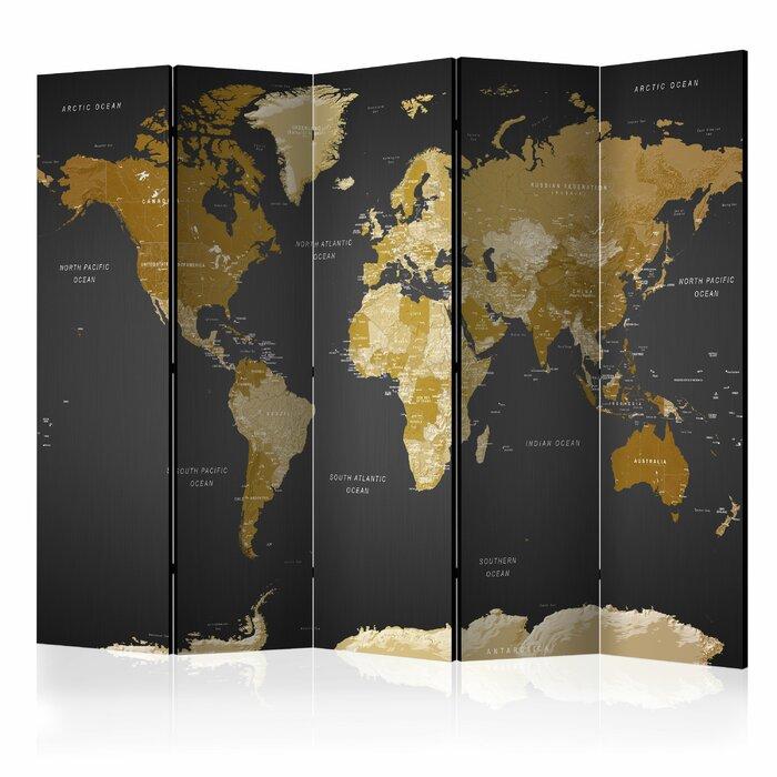 Jabria World Map On Dark Background 5 Panel Room Divider