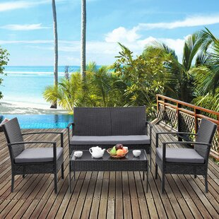 Valerian 4 Piece Rattan Wicker Sofa Seating Group with Cushions