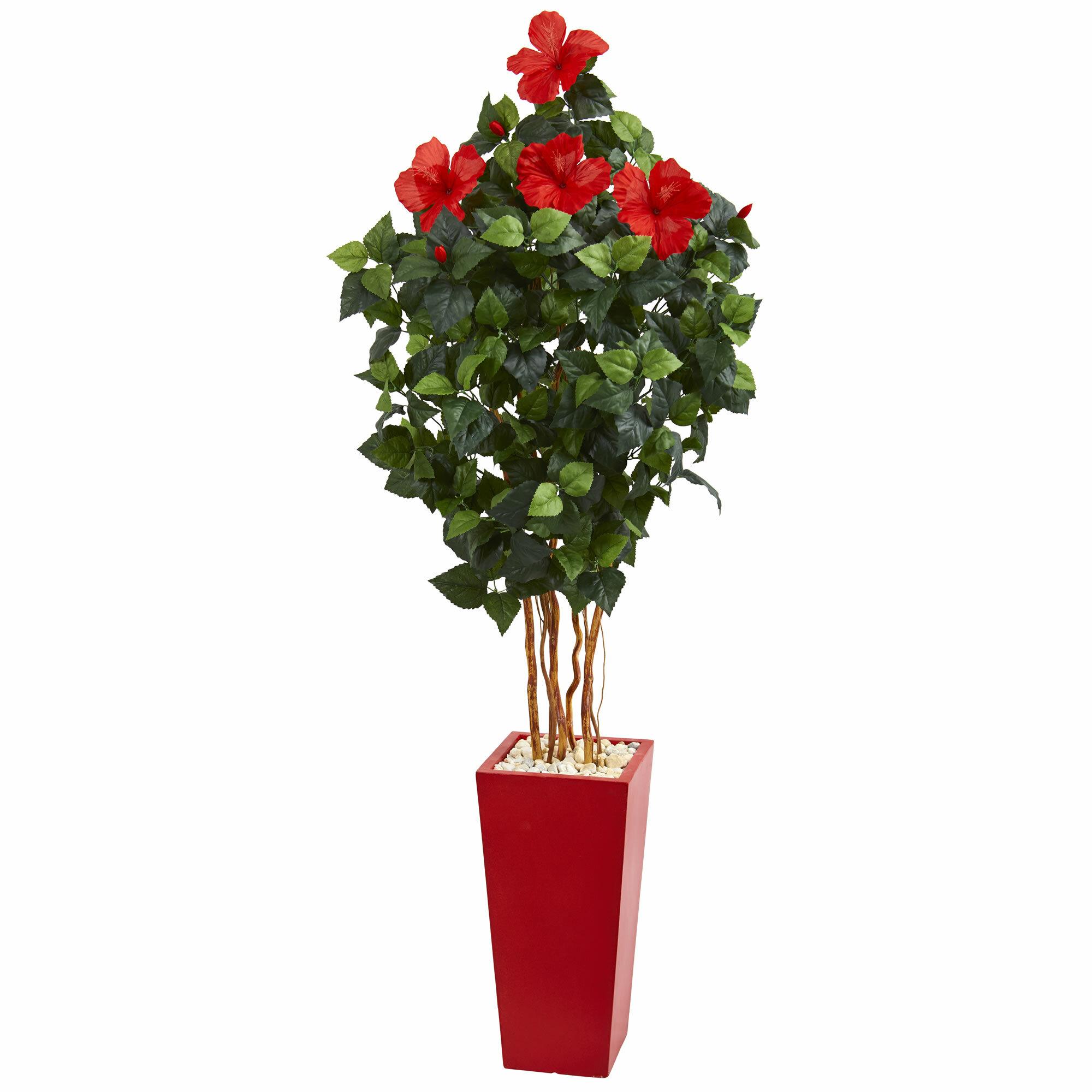Latitude Run 46 Artificial Hibiscus Tree In Planter Reviews Wayfair