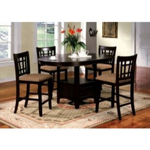 Woolley 5 Piece Counter Height Extendable Solid Wood Dining Set