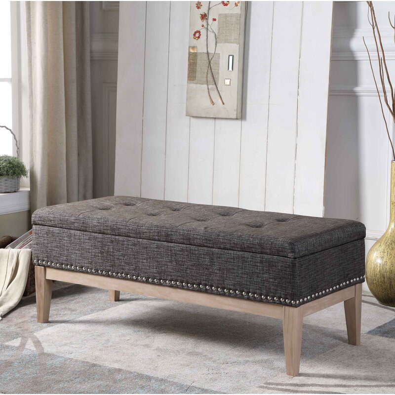 Charmant Lewistown Tufted Mid Century Upholstered Storage Bench