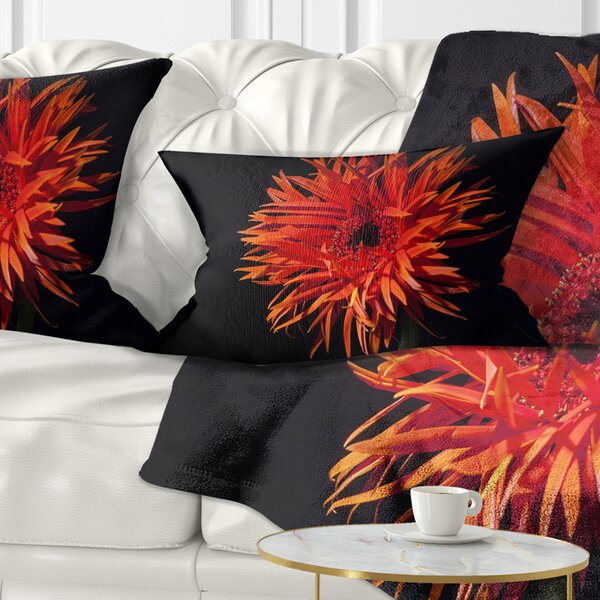 East Urban Home Flowerswork Spider Gerbera Daisy Watercolor Lumbar Pillow Wayfair