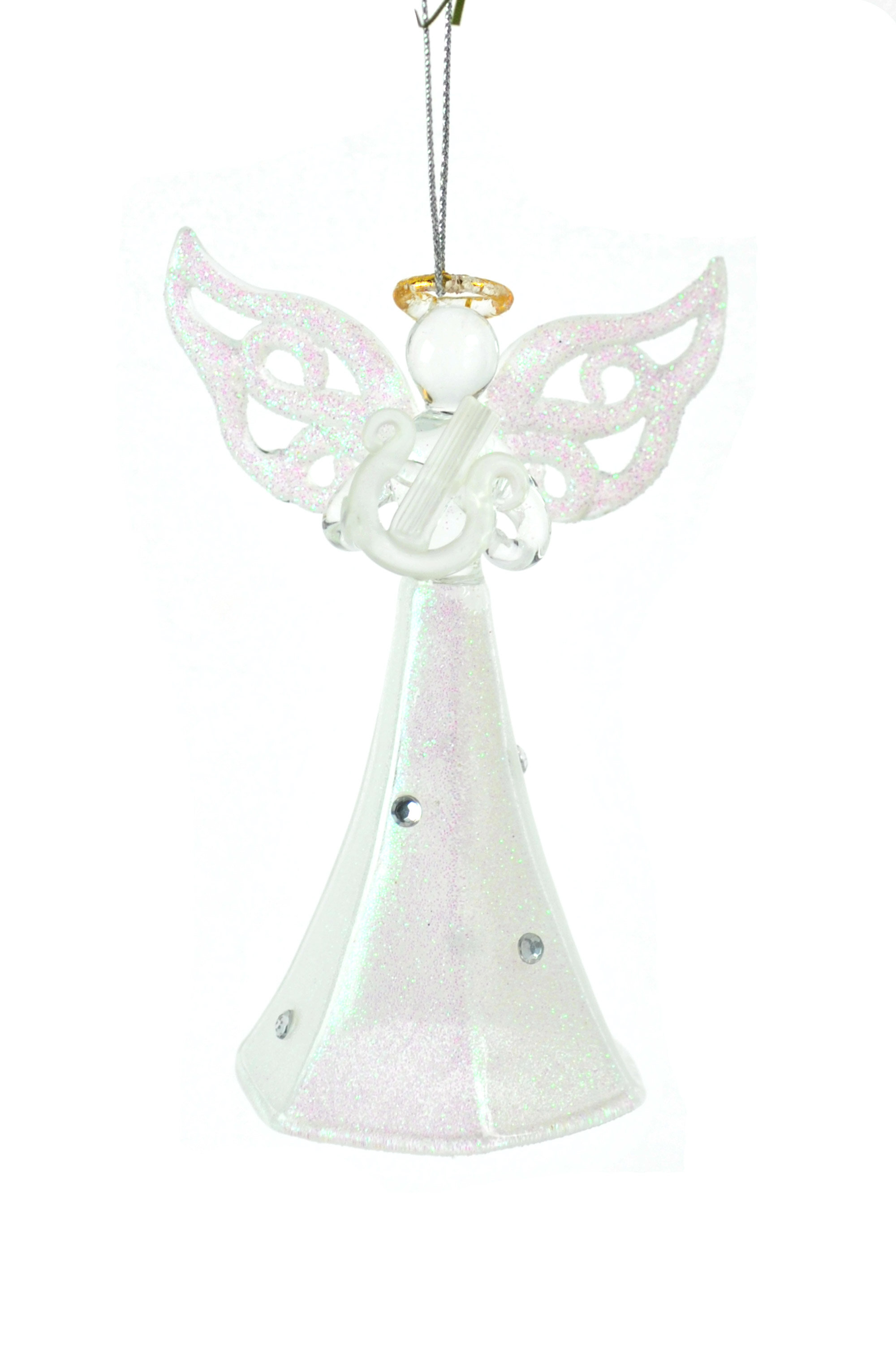 The Holiday Aisle Blown Glass White Angel Hanging Figurine Ornament Wayfair