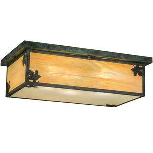 Loon Peak Yedinak Maple Leaf Oblong 3-Light Flush Mount