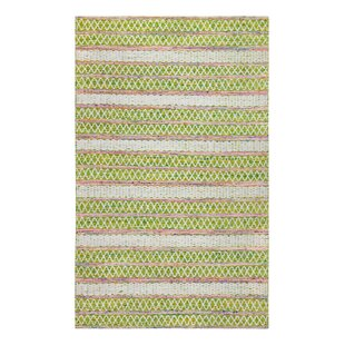 Affordable Hand-Woven Green/White Area Rug ByBungalow Rose
